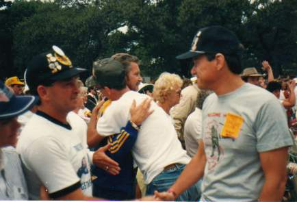 Bob Gibson and me, at the concert after the Welcome Home Parade, Sydney, 1987